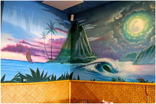 Commercial art murals for Beach mural painting